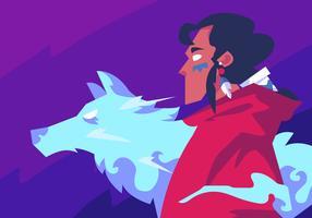 Shaman och Wolf vektor