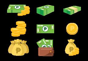 Peso mexikanska pengar ikoner vektor