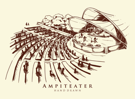 Handdragen amfiteater illustration vektor