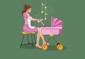 Retro Kindermädchen-Vektor