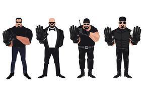 Set Bodyguards oder Bouncer bewachten die Tür vektor