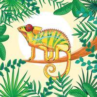 Chamäleon-Fantasie-Gelb-Farben mit tropischem Dschungel-Hintergrund