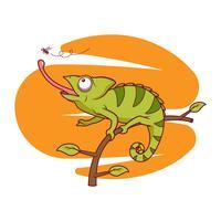 Freier Vektor Chameleon, der Fliegenillustration fängt