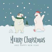 Nette Szenen-Bären, die mit Schnee spielen