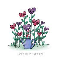 Söta trädgårdsväxter med hjärtor till Alla hjärtans dag vektor