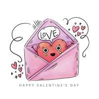 Söt kuvert med hjärtat karaktär inuti och dekorationer till Alla hjärtans dag vektor