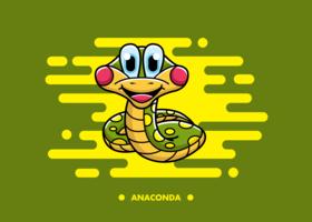 Kostenlose Cartoon Anaconda Vektor