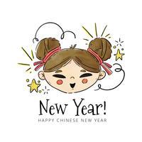 Netter chinesischer Mädchen-Kopf mit Verzierungen zum Chinesischen Neujahrsfest