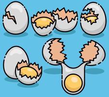 Vektor Broken Eggs Set