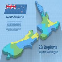 Vektor 3d illustration av Nya Zeeland karta