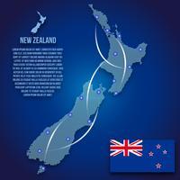 Vektor punktierte Seeland-Karten-Illustration