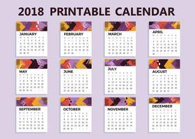 Freier druckbarer Kalender-Vektor 2018
