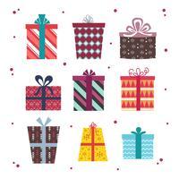Weihnachtsgeschenk-Kasten-Vektor-Satz vektor