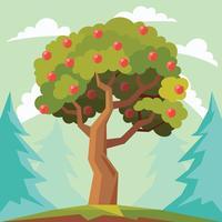 Pfirsichbaum-Vektor-Illustration