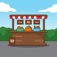 Färsk frukt trästall illustration