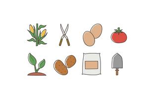 Jordbruksdoodle ikon pack vektor