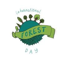 internationellt skogsdagskort. vektor