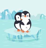 Pinguine umarmen sich auf einer arktischen Eisscholle vektor