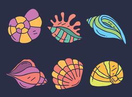 Hand gezeichneter Kamm-Muschelsammlungs-Vektor vektor