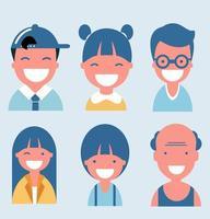 samling av glada leende tecknade avatarer vektor
