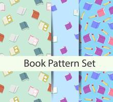 uppsättning bakgrundsmönster med böcker vektor