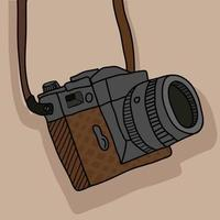 vintage fotografi kamera med rem vektor