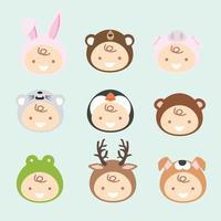 samling av nyfödda barn som bär djurdräkter vektor