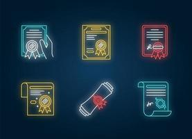 Zertifikate Neonlicht Symbole gesetzt. Apostille und Legalisierung. vektor