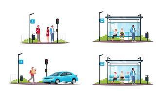 Menschen und öffentliche Verkehrsmittel eingestellt vektor
