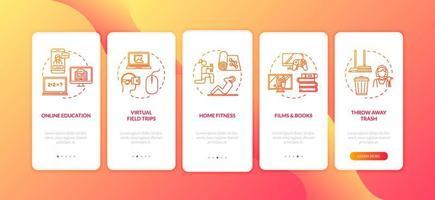 Heimaktivität, Freizeit und E-Learning Onboarding mobile Seite