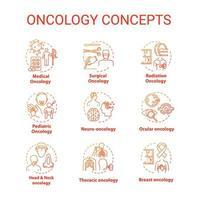 Onkologie-Konzeptsymbole eingestellt. vektor