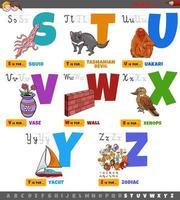pedagogiska tecknade bokstäver från s till z