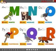 bokstäver för barn från m till r