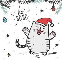 Fat Santa Cat Vector Bakgrund
