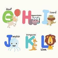 Alphabetbuchstaben von g bis l mit niedlichen Tieren