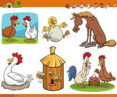 tecknad rolig bondgård djur komiska tecken set vektor