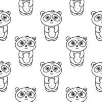 panda sömlösa mönster i doodle stil vektor