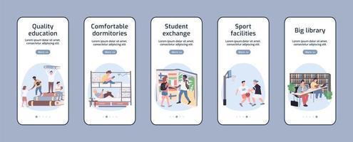 Studenten Lebensstil Onboarding mobile App-Bildschirme vektor