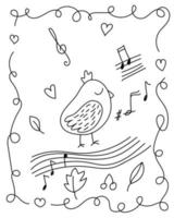 målarbok med liten fågel i klotterstil