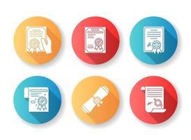 certifikat platt design långa skugga glyph ikoner set.