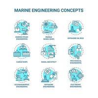 Marine Engineering Türkis Konzept Icons Set. vektor