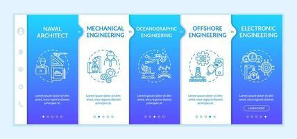 Onboarding-Vorlage für Meerestechnik. vektor
