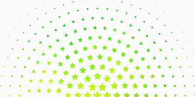 hellgrüner Hintergrund mit bunten Sternen.
