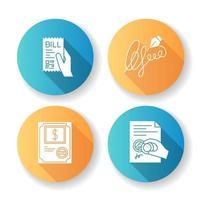 notarie tjänster platt design glyph ikoner set.