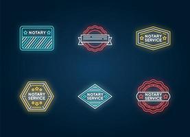 notarie service stämplar neonljus ikoner set.