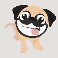 glücklicher Mops mit großem Lächeln vektor