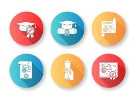 diplom platt design lång skugga glyph ikoner set.