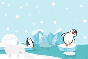 pingviner och isbjörnar som leker i arktiskt landskap vektor