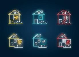Immobilienangelegenheiten Neonlicht-Ikonen gesetzt. vektor