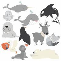 samling av arktiska djur inklusive valar, björnar och ugglor vektor